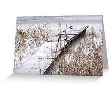 Boat Dock in Winter on a Lake in Yankee Springs Greeting Card