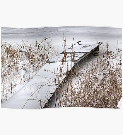 Boat Dock in Winter on a Lake in Yankee Springs Poster
