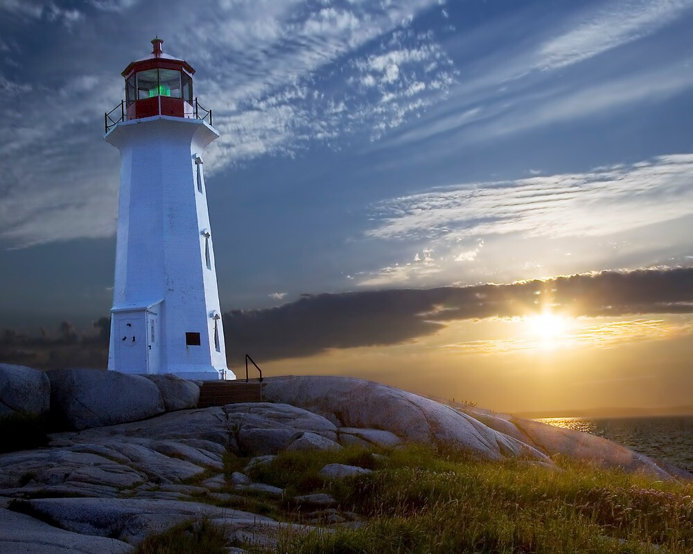 Sunset at Peggys Cove Lighthouse in Nova Scotia  by Randall Nyhof