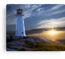 Sunset at Peggys Cove Lighthouse in Nova Scotia  Canvas Print