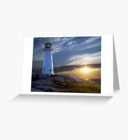 Sunset at Peggys Cove Lighthouse in Nova Scotia  Greeting Card
