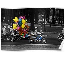 Balloons on a bike Poster