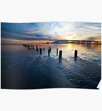 Low Tide Biloxi Bay Sunset Poster