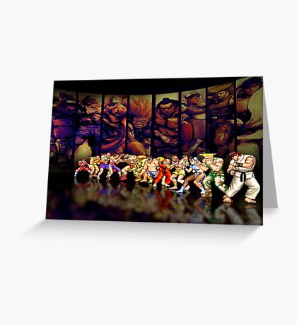Street Fighter II pixel art Greeting Card