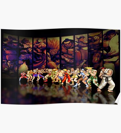 Street Fighter II pixel art Poster