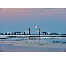 Supermoon over the Skyway Bridge HDR Photographic Print