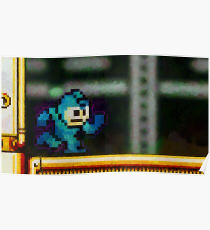 Mega Man retro painted pixel art Poster