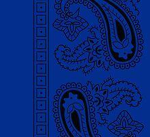 Blue and Black Paisley Bandana  by ShowYourPRIDE