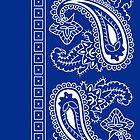 Blue and White Paisley Bandana  by ShowYourPRIDE