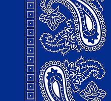 Blue and White Paisley Bandana  by ShowYourPRIDE