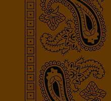 Brown and Black Paisley Bandana  by ShowYourPRIDE