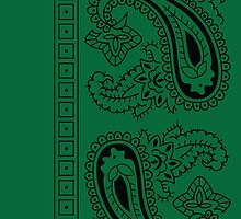 Dark Green and Black Paisley Bandana  by ShowYourPRIDE
