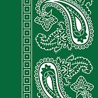 Dark Green and White Paisley Bandana  by ShowYourPRIDE