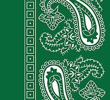 Dark Green and White Paisley Bandana  by ShowYourPRIDE