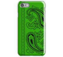 Light Green and Black Paisley Bandana  iPhone Case/Skin