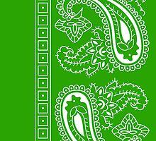 Light Green and White Paisley Bandana  by ShowYourPRIDE