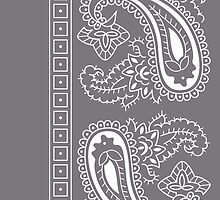 Gray and White Paisley Bandana  by ShowYourPRIDE