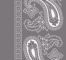 Gray and White Paisley Bandana  by ShowYourPRIDE