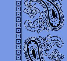 Light Blue and Black Paisley Bandana  by ShowYourPRIDE