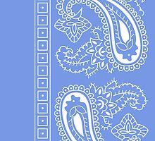 Light Blue and White Paisley Bandana  by ShowYourPRIDE