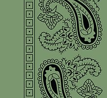Olive Green and Black Paisley Bandana   by ShowYourPRIDE