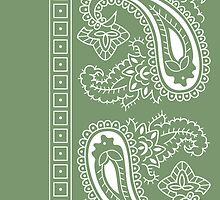 Olive Green and White Paisley Bandana   by ShowYourPRIDE