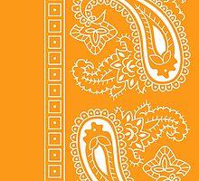 Orange and White Paisley Bandana   by ShowYourPRIDE