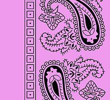 Pink and Black Paisley Bandana   by ShowYourPRIDE