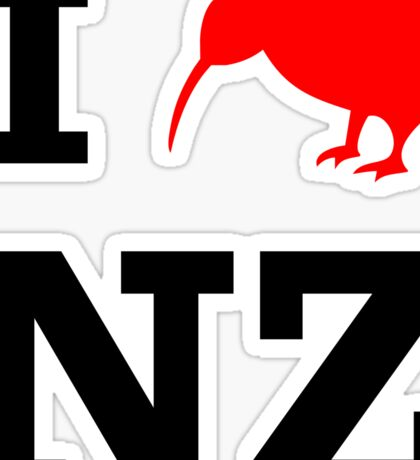 I Love New Zealand (Kiwi) white design Sticker