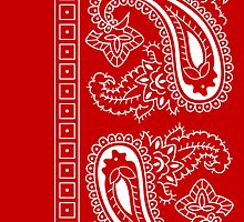 Red and White Paisley Bandana   by ShowYourPRIDE