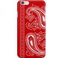 Red and White Paisley Bandana   iPhone Case/Skin