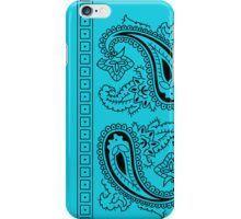 Teal and Black Paisley Bandana   iPhone Case/Skin
