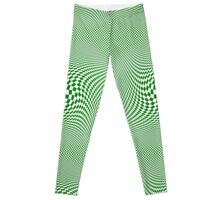 Check Swirl - Green & White Leggings