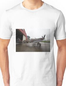 Spitfire TR9 MJ627 adorned with Poppies in a flying tribute to all those who died or suffered during two World Wars Unisex T-Shirt