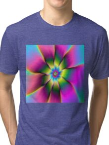 Flower in Green and Pink Tri-blend T-Shirt