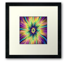 Combustion in Yellow Turquoise and Blue Framed Print