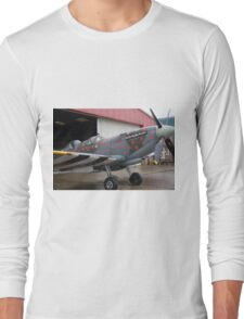 Spitfire TR9 MJ627 adorned with Poppies in a flying tribute to all those who died or suffered during two World Wars Long Sleeve T-Shirt