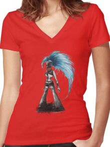 Rainbow Punk: Cybernetic Blue Women's Fitted V-Neck T-Shirt