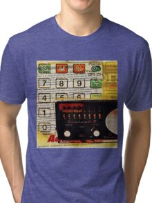 funky geek nerd shortwave radio retro calculator  Tri-blend T-Shirt