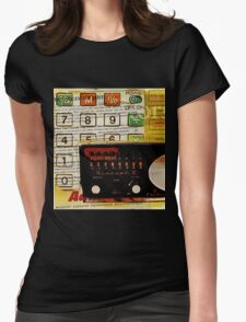 funky geek nerd shortwave radio retro calculator  Womens Fitted T-Shirt