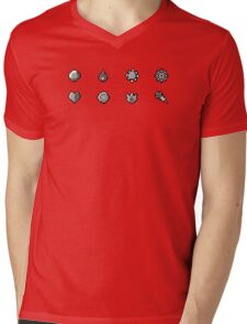 Pokemon Badges Original - Red and Blue Mens V-Neck T-Shirt