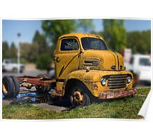 Old antique yellow truck Poster