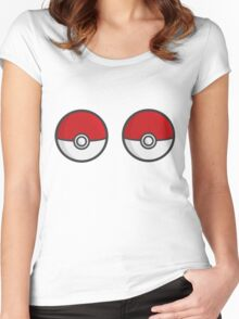POKEBOOBS - Ladies Pokeball Shirt Women's Fitted Scoop T-Shirt