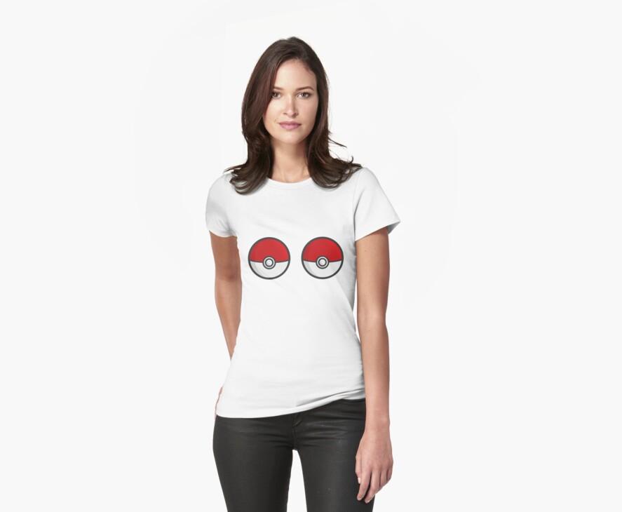 POKEBOOBS - Ladies Pokeball Shirt by eaaasytiger