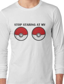 POKEBOOBS - Ladies Pokeball Shirt Long Sleeve T-Shirt