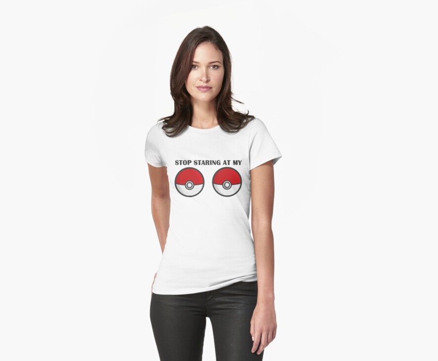 POKEBOOBS - Ladies Pokeball Shirt by eaaasytiger