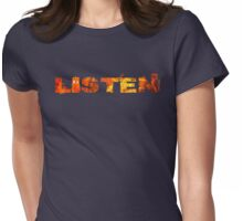 LISTEN - Typography Womens Fitted T-Shirt