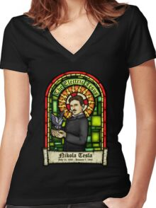 Tesla: The Electric Jesus Women's Fitted V-Neck T-Shirt