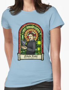Tesla: The Electric Jesus Womens Fitted T-Shirt