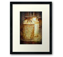 Creamery Cans in 1880 Town No 3098 Framed Print